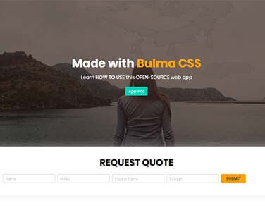Bulma CSS Landing - JAMStack Web App styled with Bulma CSS.