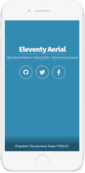 11ty Html5Up Aerial - Mobile view.