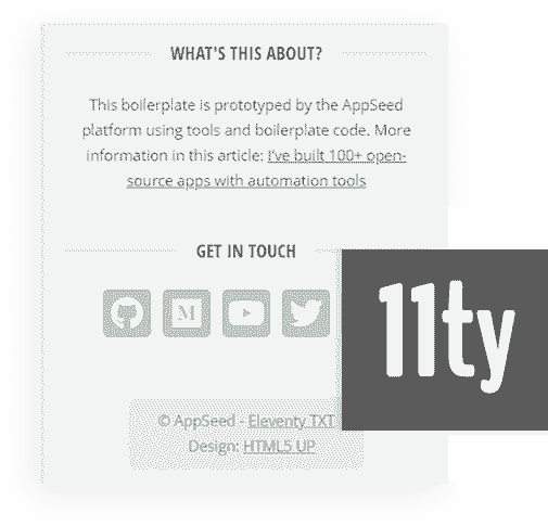 Eleventy Framework - The core used by 11ty Html5Up TXT Web App.