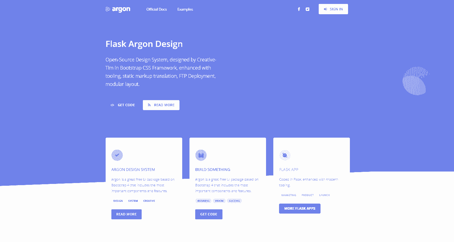 Flask Argon Design - Features: Database, ORM, Deploy Scripts.