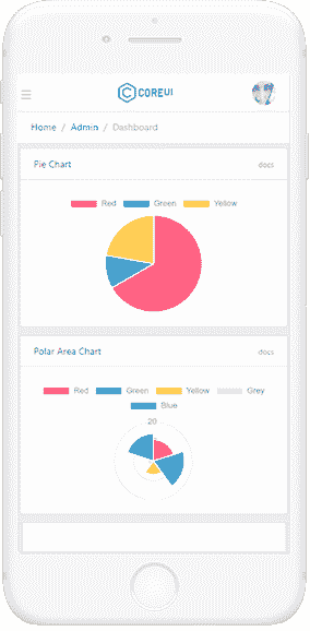 CoreUI Flask Dashboard - Mobile view.