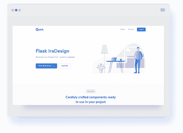 Flask App IraDesign screen shot  - Quick UI Kit.
